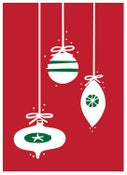 Image of Mod Ornaments Christmas Card -  Holiday Greeting Card - Blank Inside