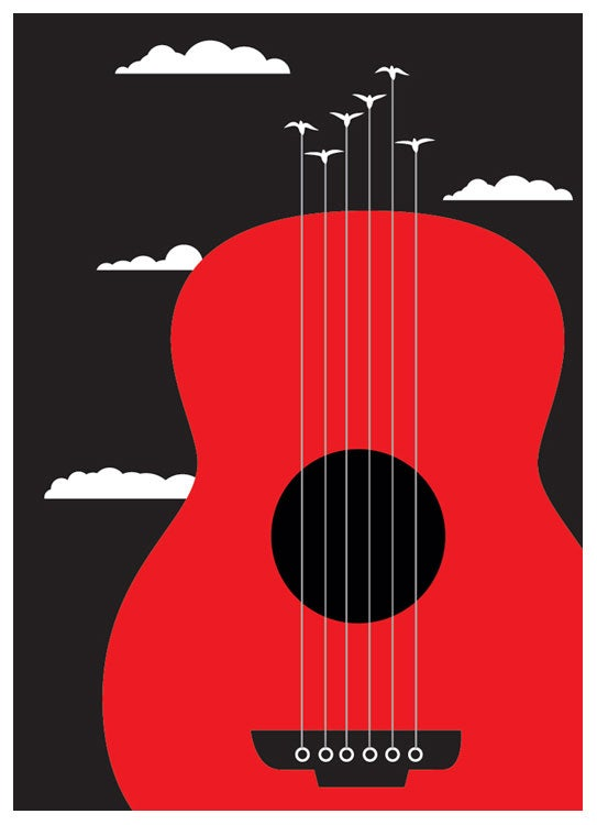 Image of Guitar and Birds Everyday Greeting Card - Blank Inside