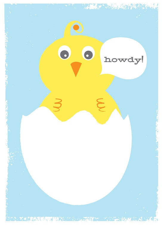 Image of New Baby Greeting Card Stationery - Howdy Baby Bird in Blue
