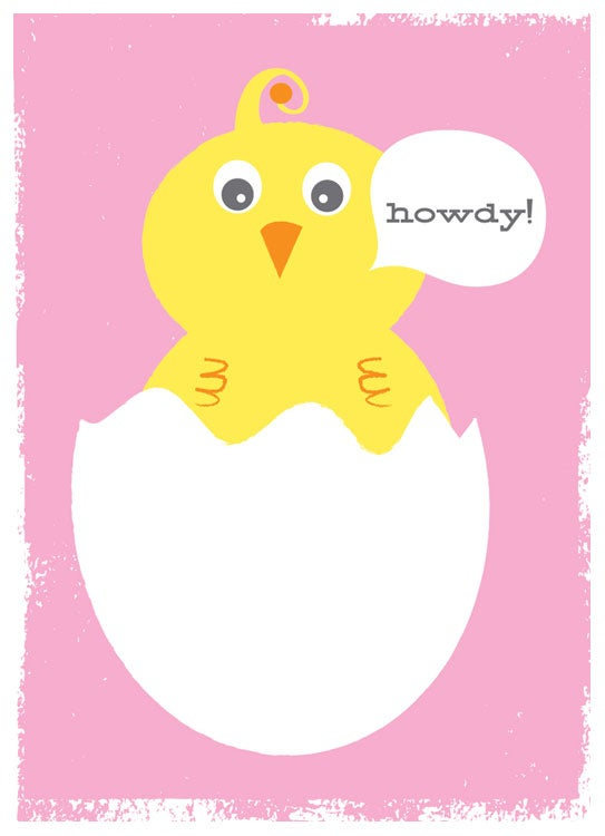 Image of New Baby Girl Greeting Card Stationery - Howdy Baby Bird Pink