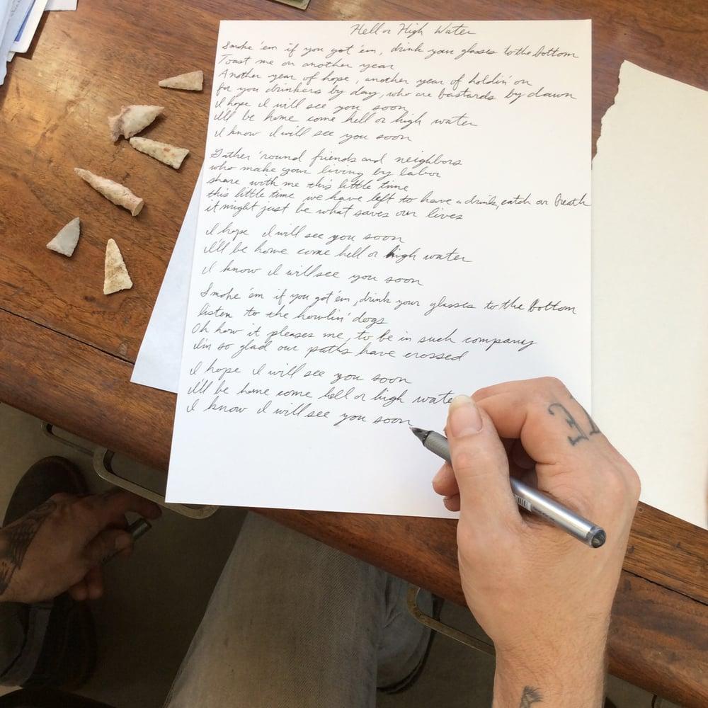 Image of Handwritten Song Lyrics