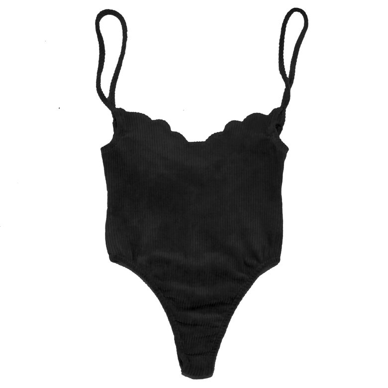 Image of 70'S SCALLOP BODYSUIT- SOOT BLACK