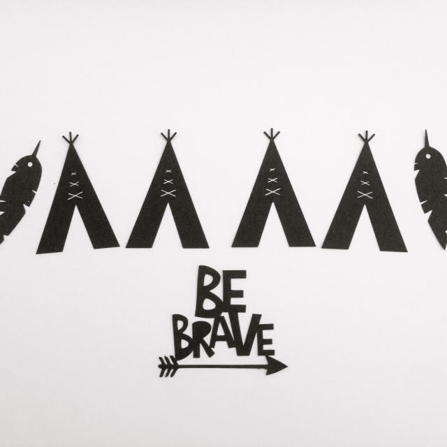 """Image of Tribal Banner and coordinating """"Be Brave"""" Cake Topper"""