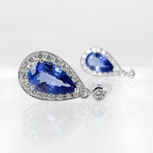 Image of 18ct White Gold Tanzanite & Diamond Drop Earrings