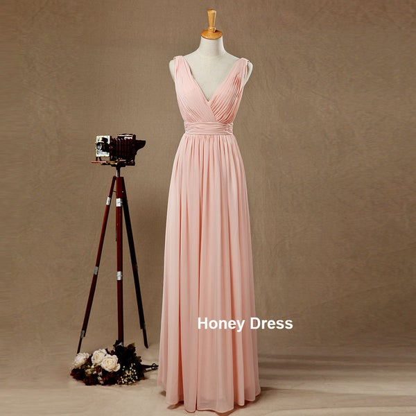 Image of Pink Chiffon V-Neck Floor Length Bridesmaid Dress,Ruche Bridal Dresses,Long Prom Dress,Formal Gown