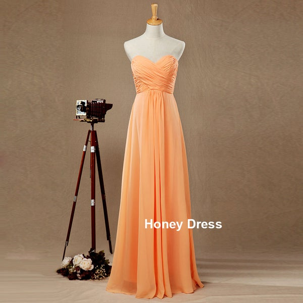 7a2370bcddfe9 Orange Chiffon Sweetheart Strapless Floor Length Long Bridesmaid Dress,Prom  Gown,Formal Dresses