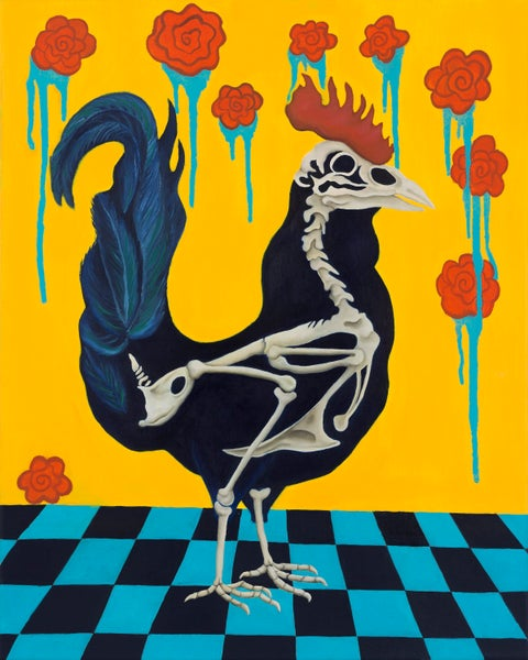 Image of Rooster Skeleton - Giclee Print