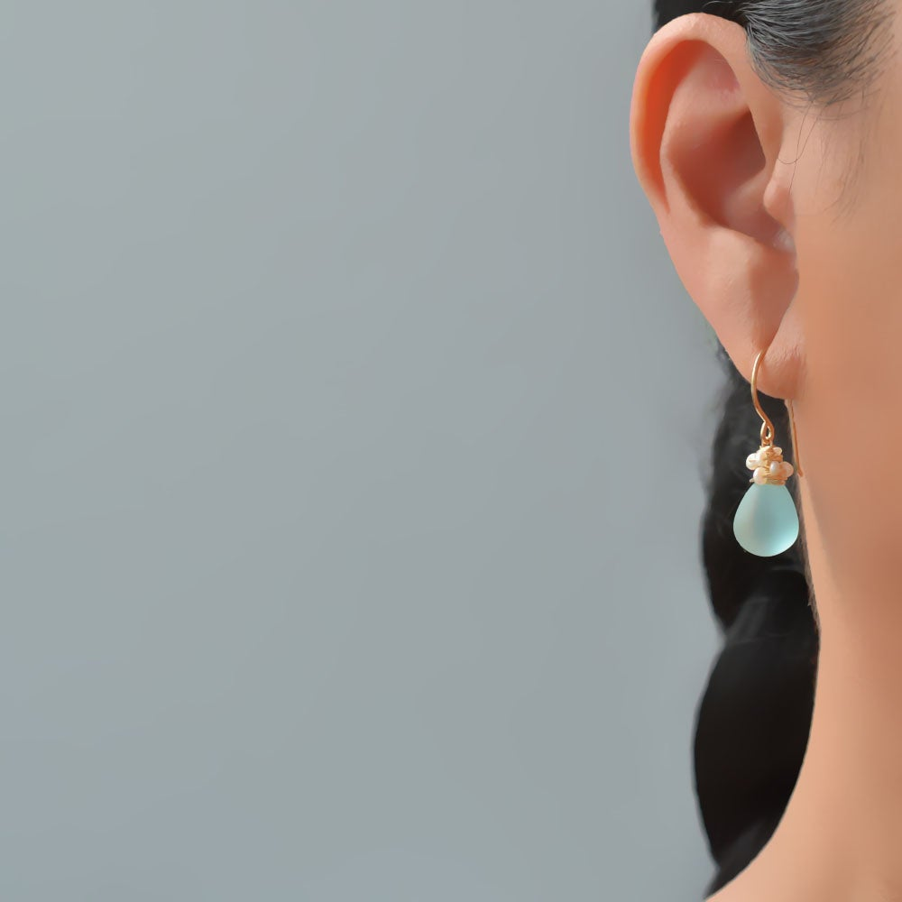 Image of Aqua glass earrings with seed pearls  14kt yellow or rose gold-filled
