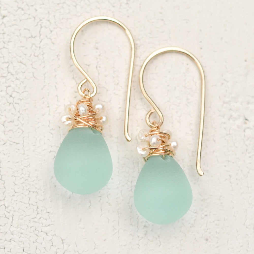 Image of Aqua glass earrings with seed pearls