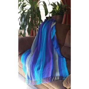 Image of Coverlet Throw Blanket - Royal Blue Turquiose Purple Willow Green, Handwoven