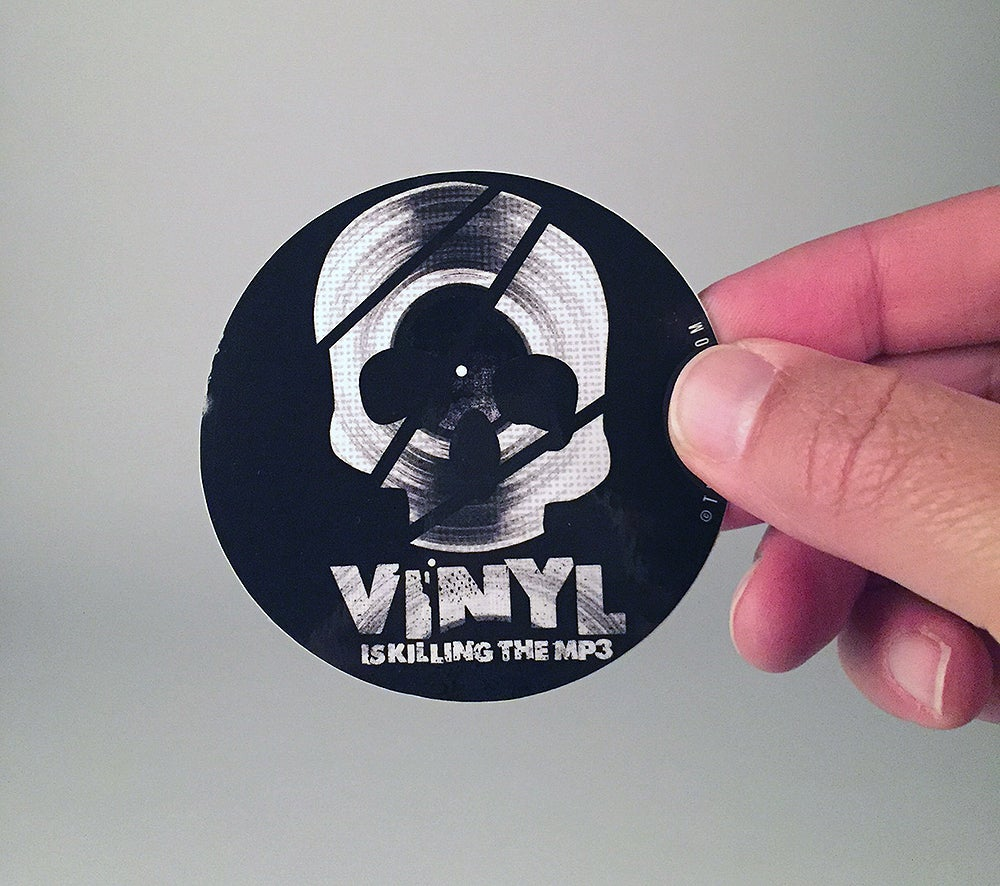 "Image of ""Vinyl is Killing the MP3"" vinyl sticker"