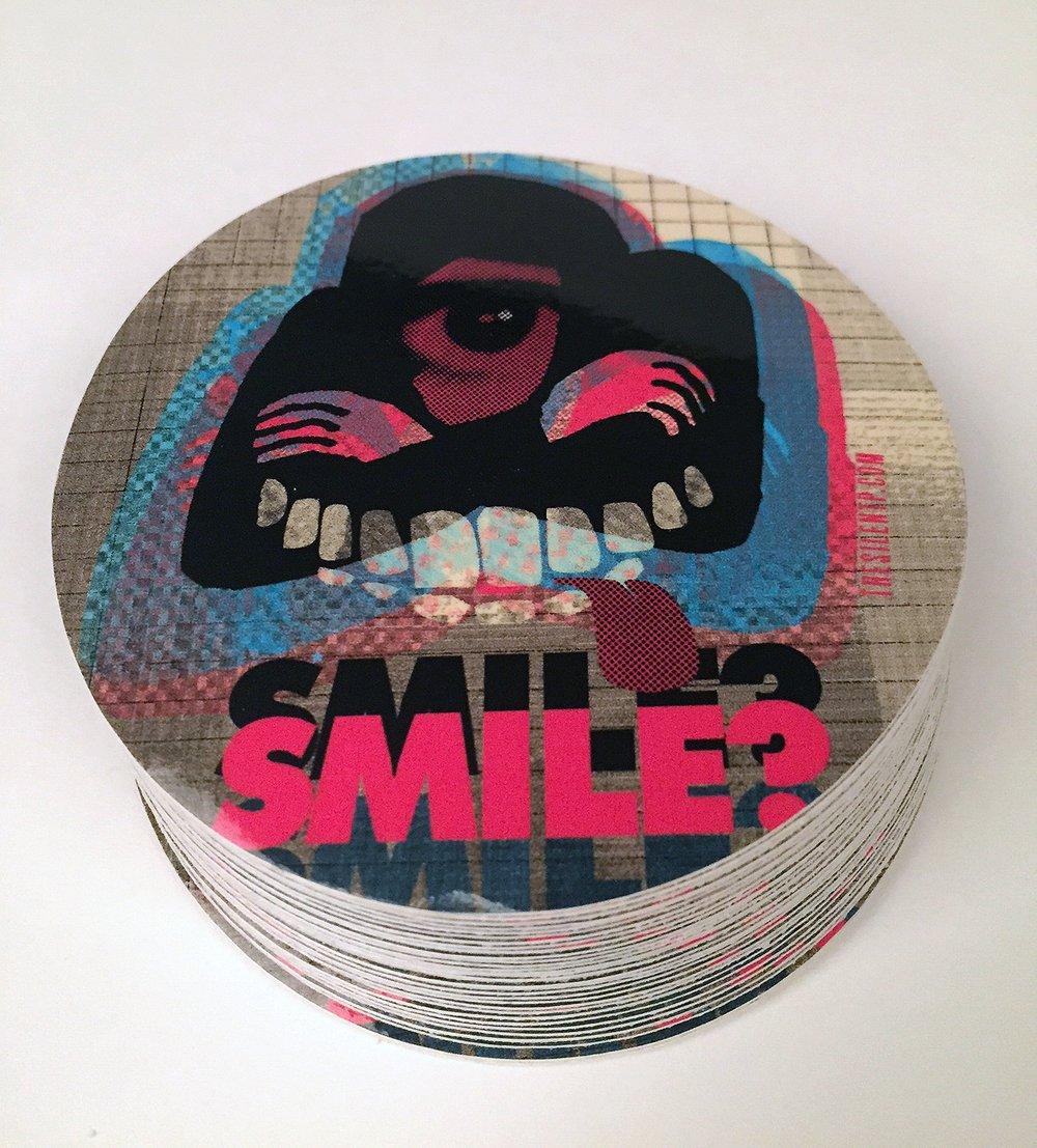 """Smile?"" vinyl sticker"