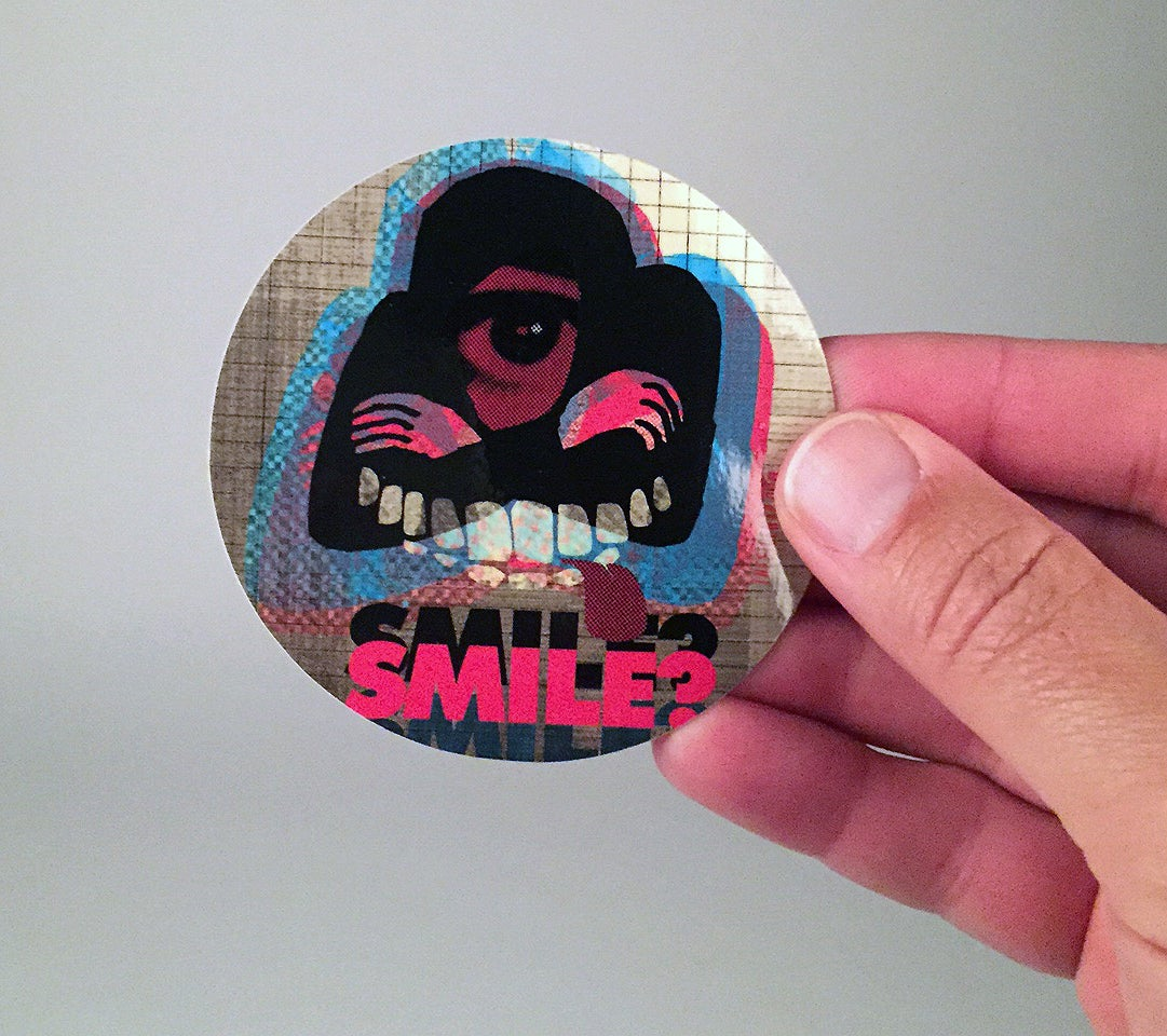 "Image of ""Smile?"" vinyl sticker"