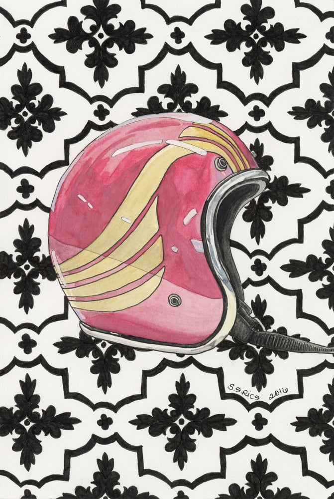 Image of Red & Gold Vintage Helmet