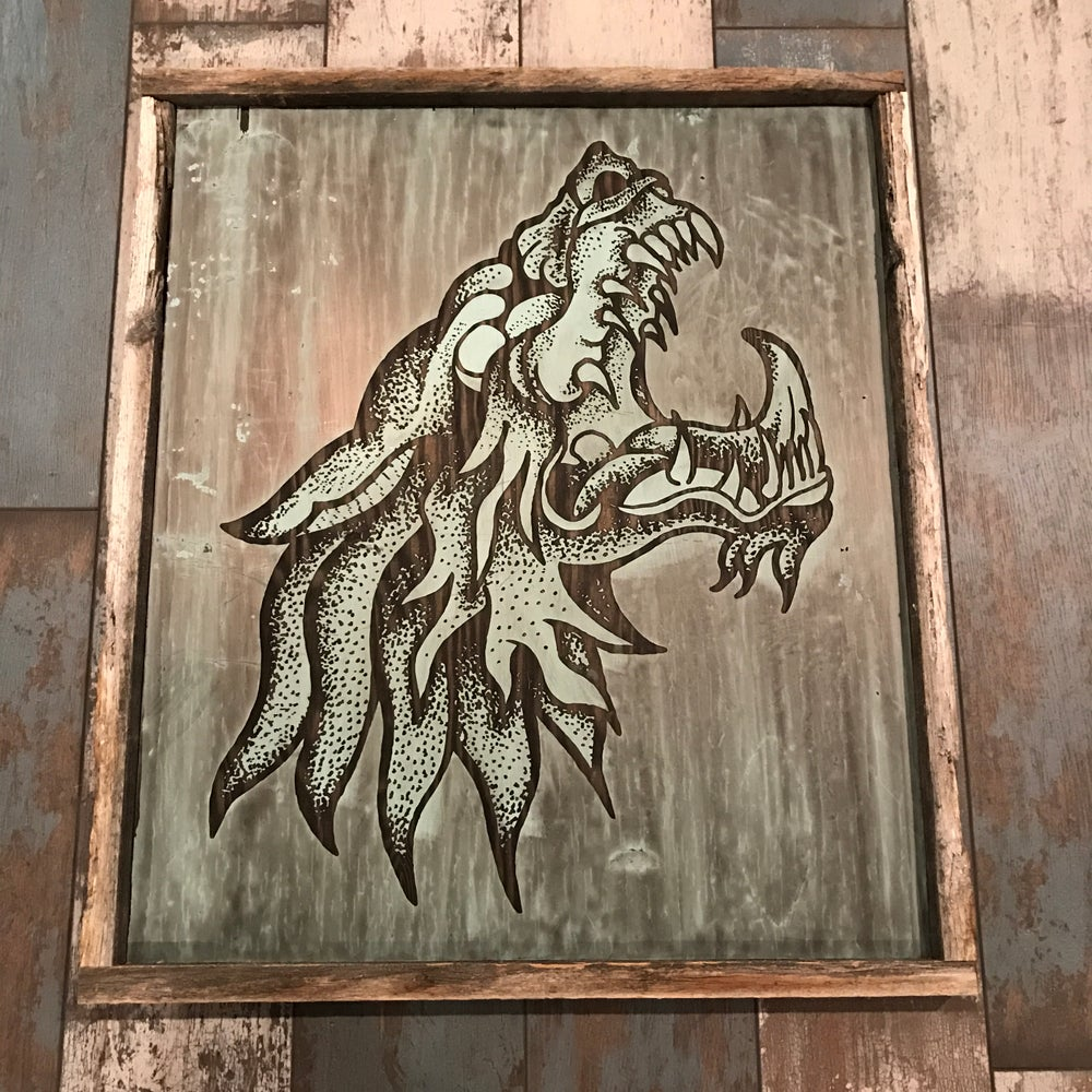 Image of Reclaimed wood Angry Ass Wolf print