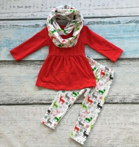 Image of Oh Deer Red Christmas Legging three piece set, baby, toddler, girl, holiday, photos