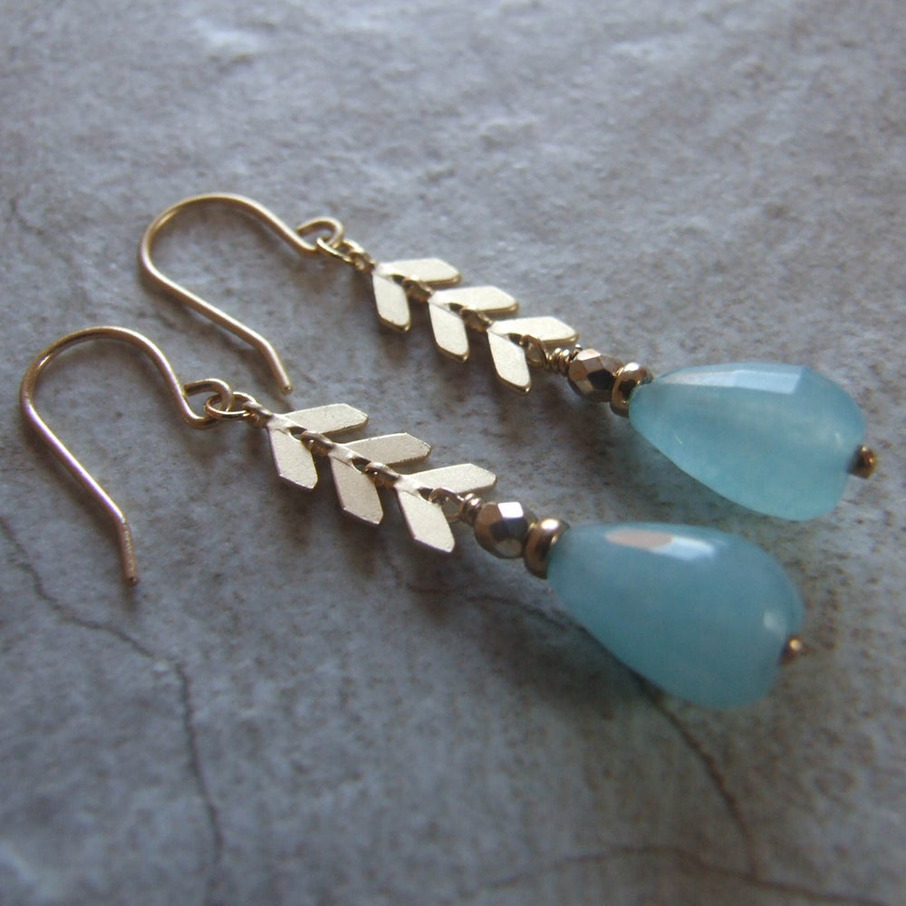 Image of Aqua Blue Chevron Drop Earrings