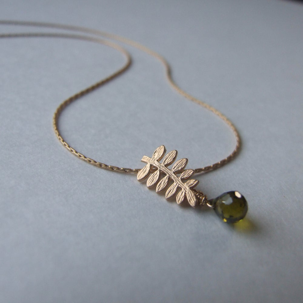 Image of Tiny Fern Necklace (Gold)