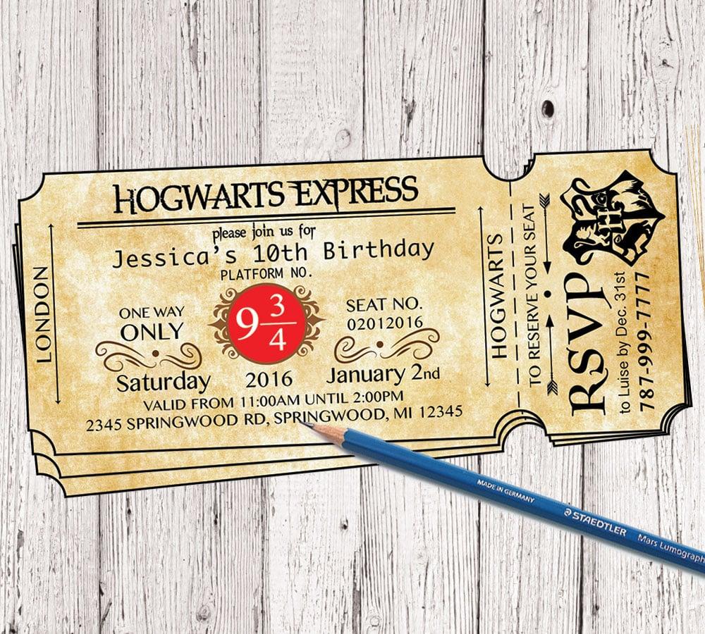Hogwarts Harry Potter Ticket Invitation / INSPIREDLIFEART