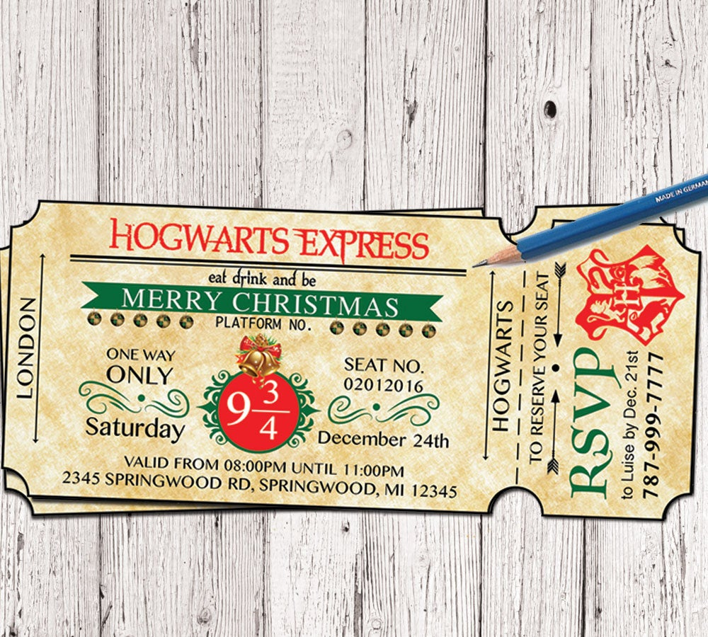 Hogwarts Harry Potter Christmas Party Invitation Inspiredlifeart