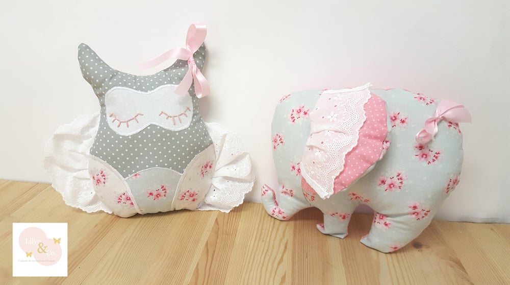 Image of En stock: Coussin doudou chouette shabby chic