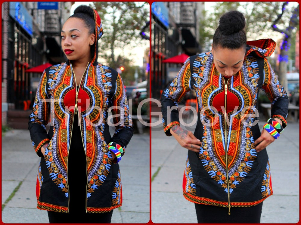 Image of Dashiki Hooded Black Dashiki Jacket