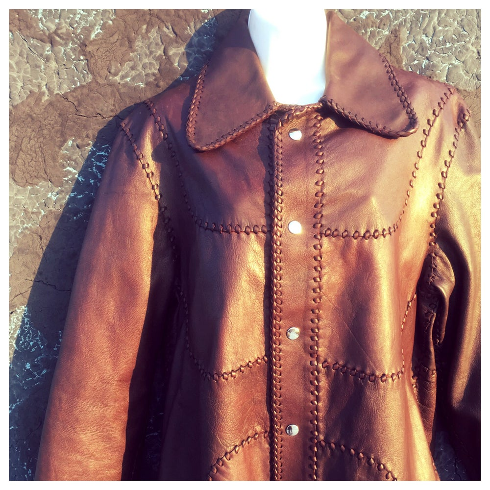 Image of Unisex Quilted Patchwork 70s Leather Jacket