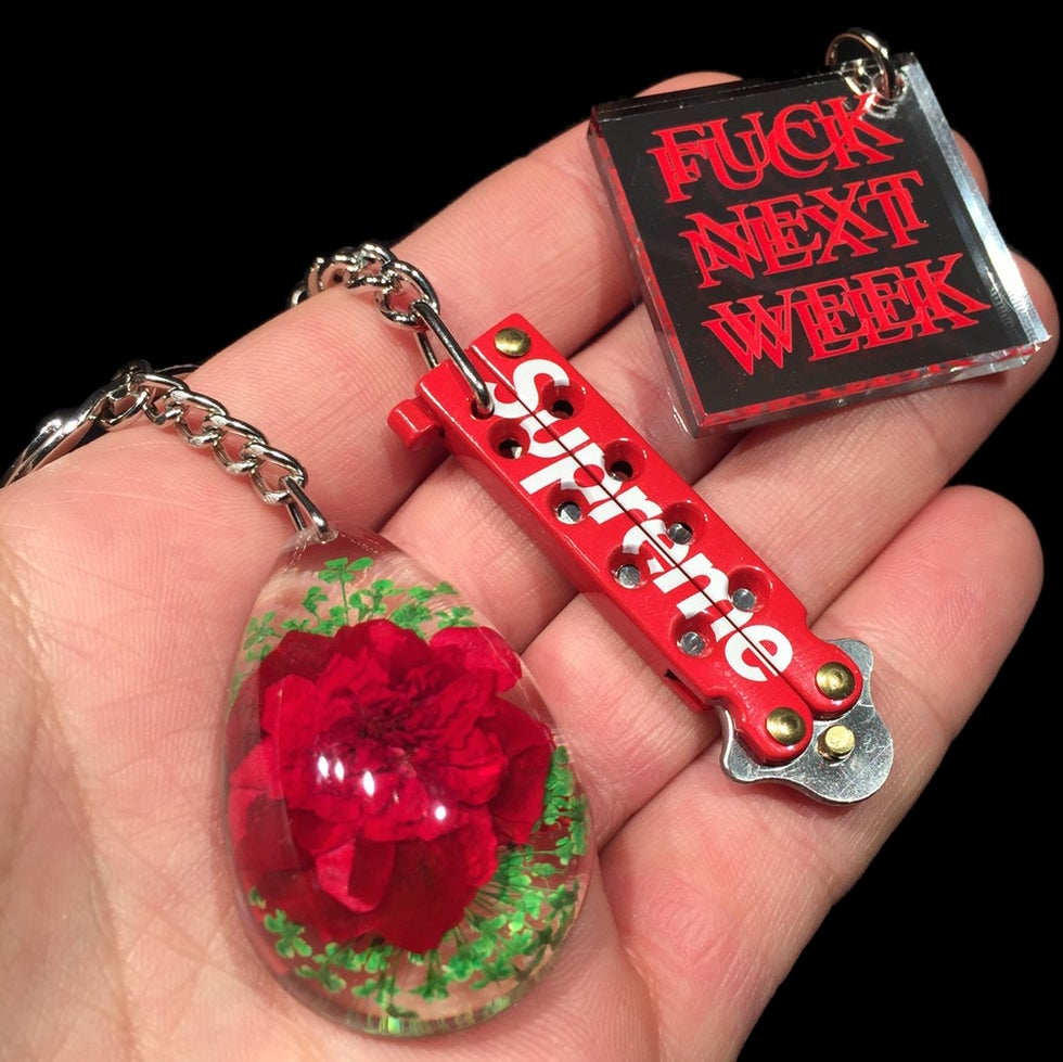 Image of 2015 Mirror, Butterfly Knife, & Tear Drop Keychains