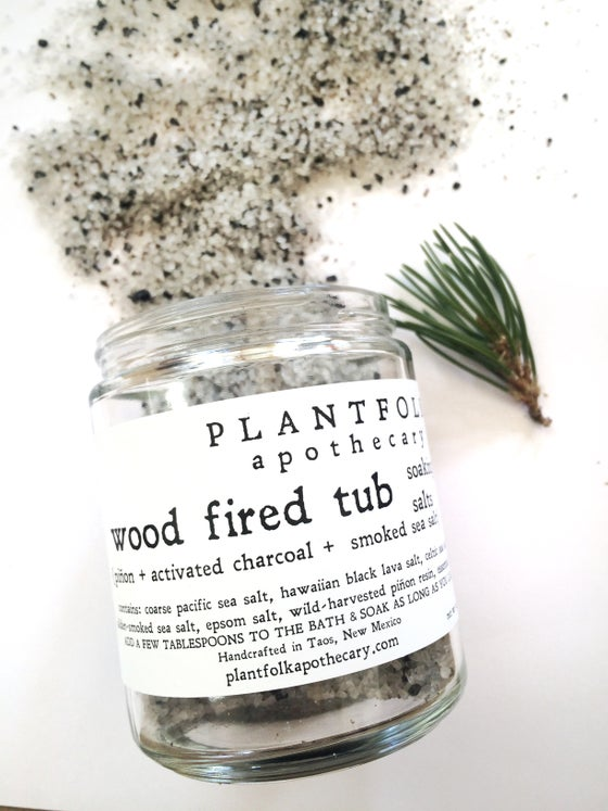 Image of wood fired tub {piñon smoked} soaking salts