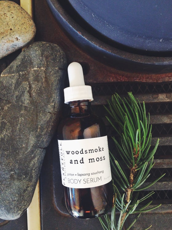Image of woodsmoke and moss {piñon + lapsang souchong} body serum