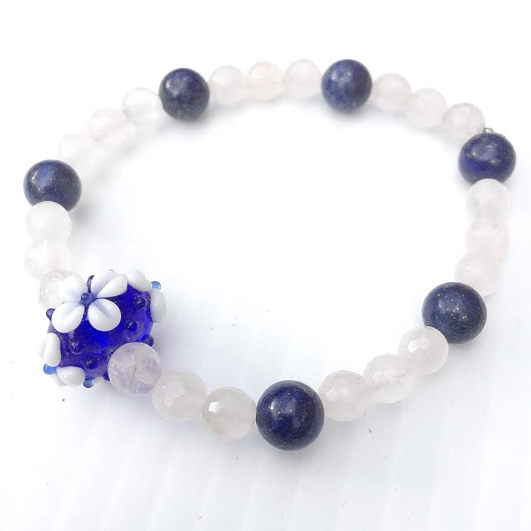 Image of Awaken and Ascend in Love ~ Lapis Lazuli and Rose Quartz with Custom Glass Lampwork Bead