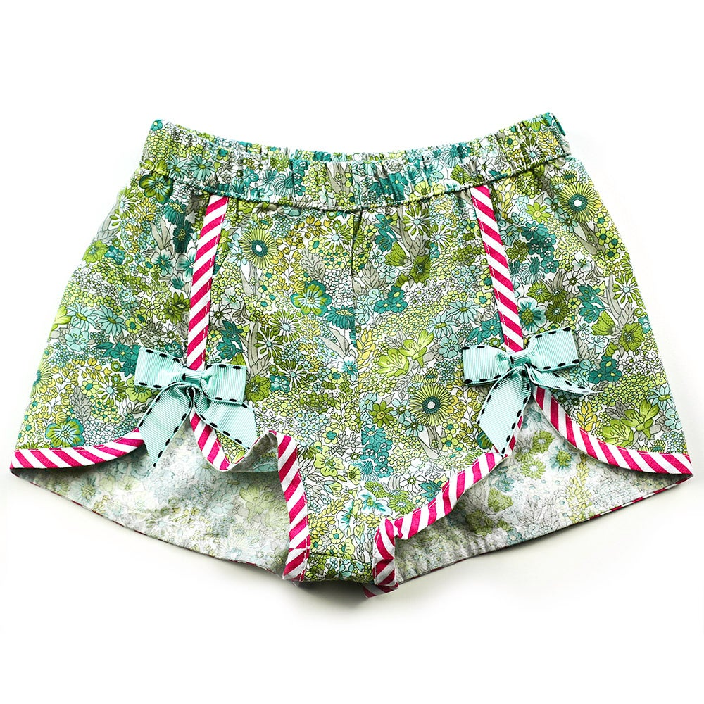 Image of Polly Vintage Bow Shorts - Forest