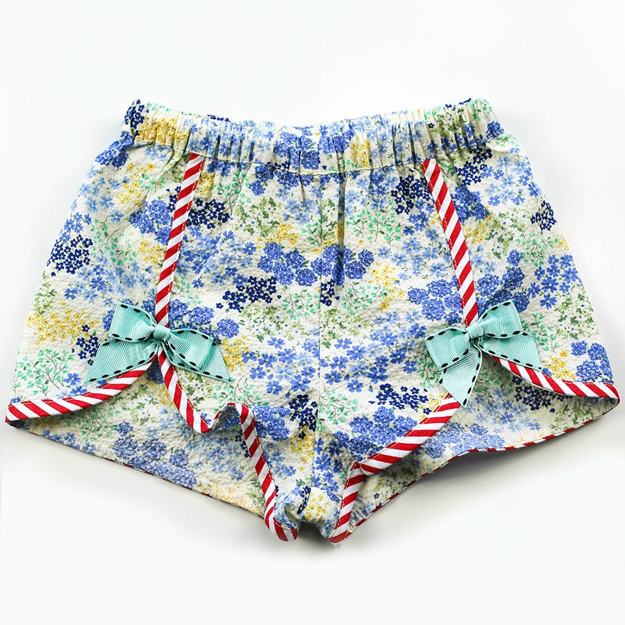 Image of Polly Vintage Bow Shorts - Cyan Seersucker