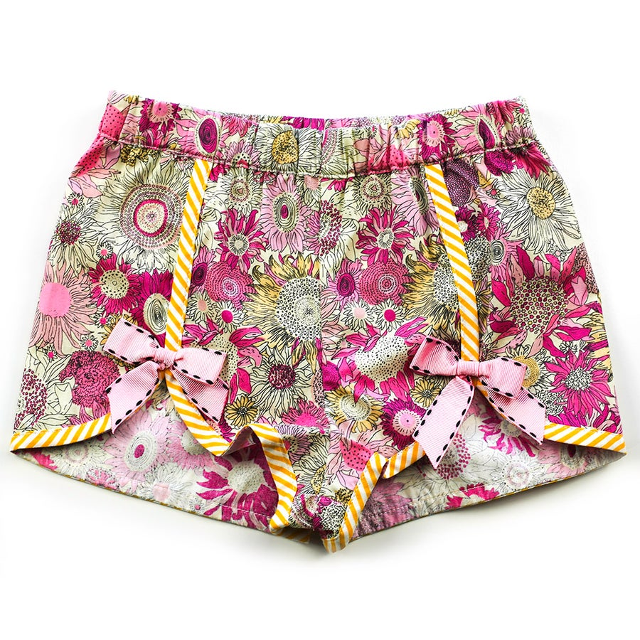 Image of Polly Vintage Bow Shorts - Pink Sunflower