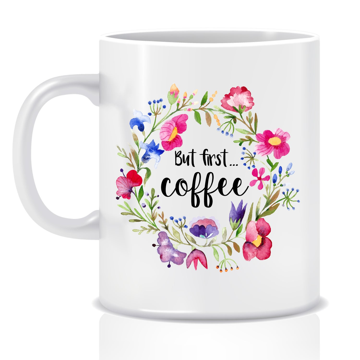 Image of But first, coffee floral mug