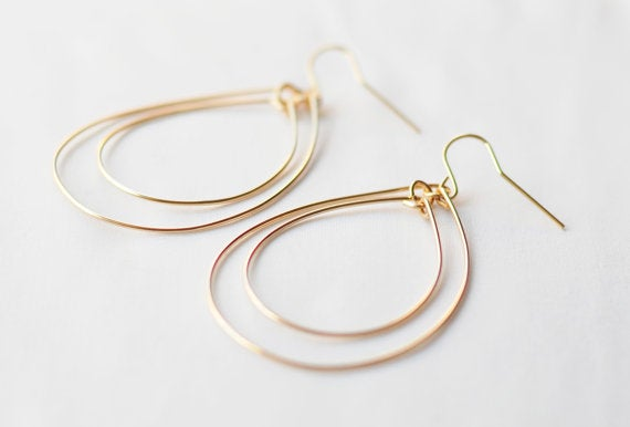 Image of Gold Double Hoop Earrings