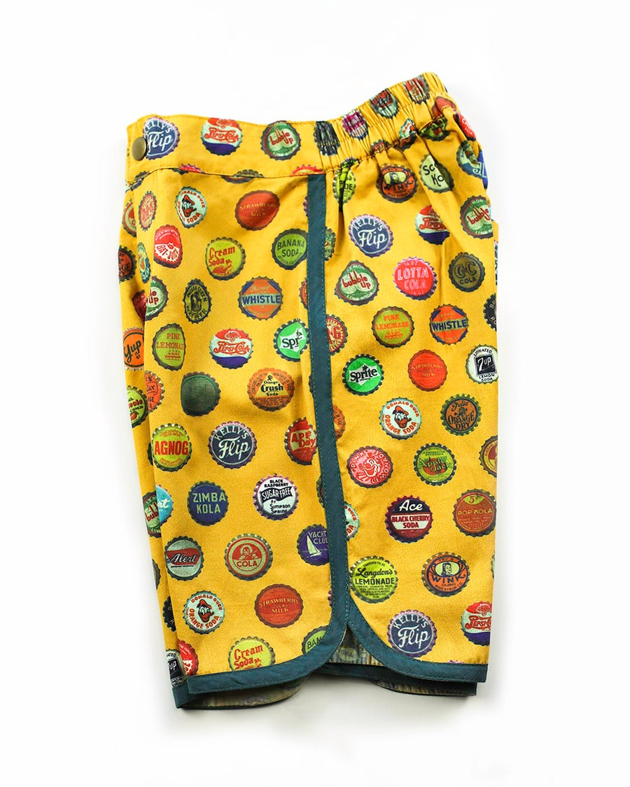 Image of Boys Retro Travel Shorts - Vintage Soda Pop > Mustard