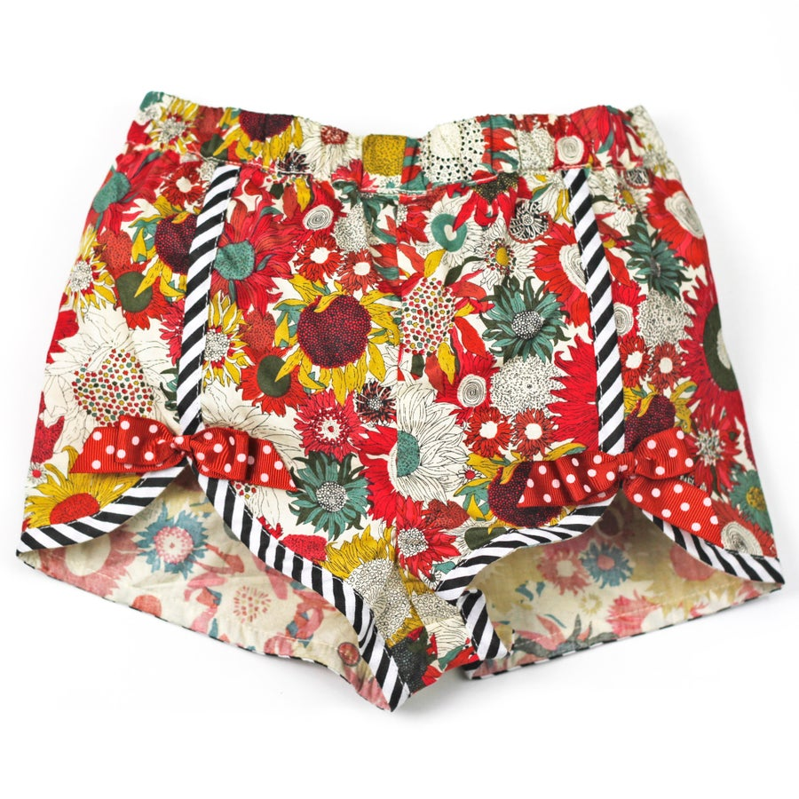 Image of Polly Vintage Bow Shorts - Evening Sunflower