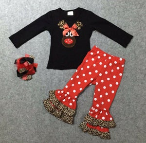 Image of Little Reindeer Christmas Outfit, Ruffle Pants, Toddler Little Girl Christmas