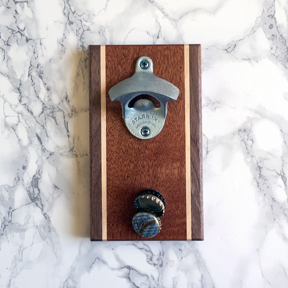 Image of Walnut, mahogany, and maple magnetic bottle opener