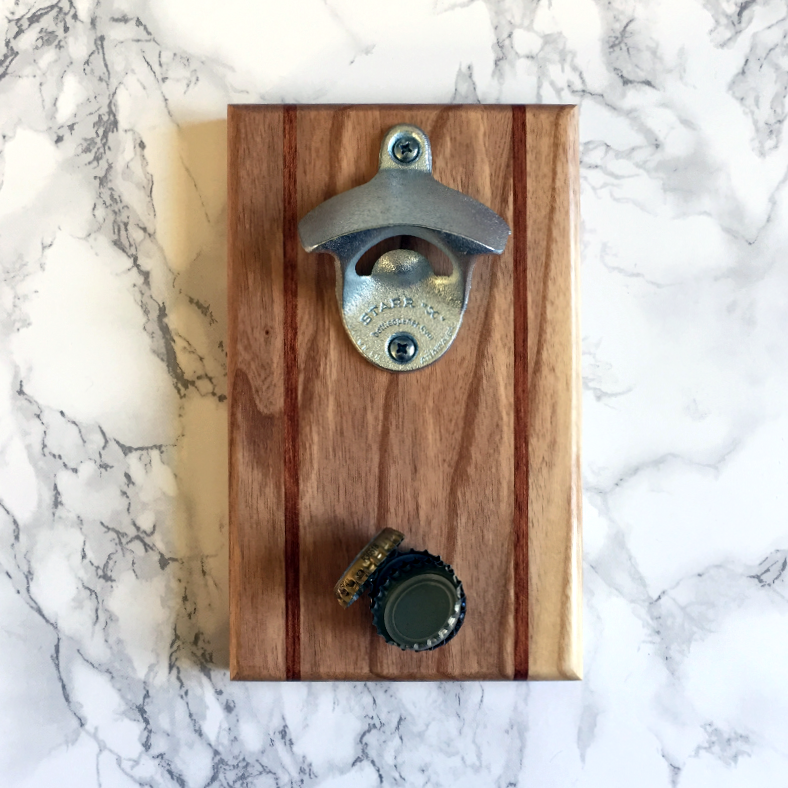 Image of Ash and bubinga magnetic bottle opener