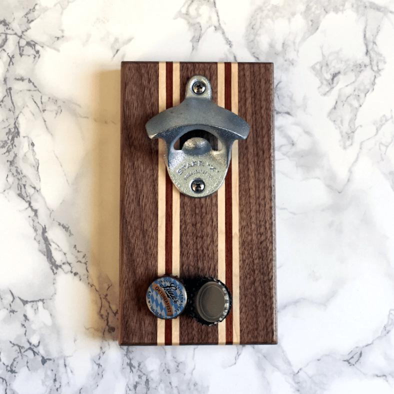 Image of Walnut, maple, and bubinga magnetic bottle opener