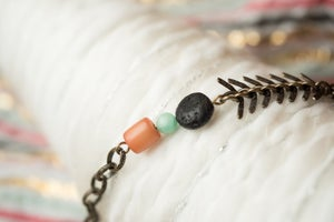 Image of Antique Brass & Buri Bead Essential Oil Diffuser Bracelet