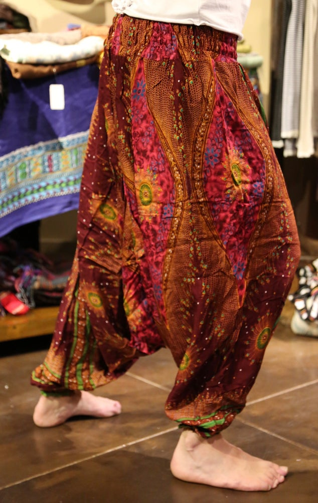 Image of Heart Peacock Harem Pants Burgundy