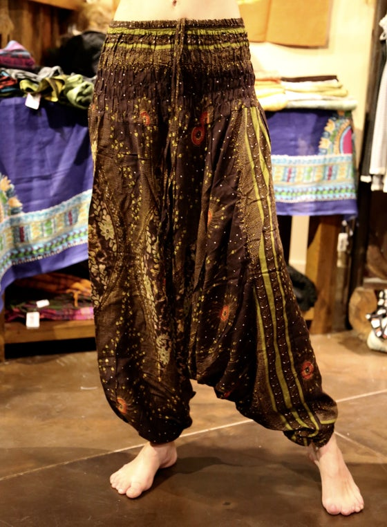 Image of Heart Peacock Harem Pants Brown/Green