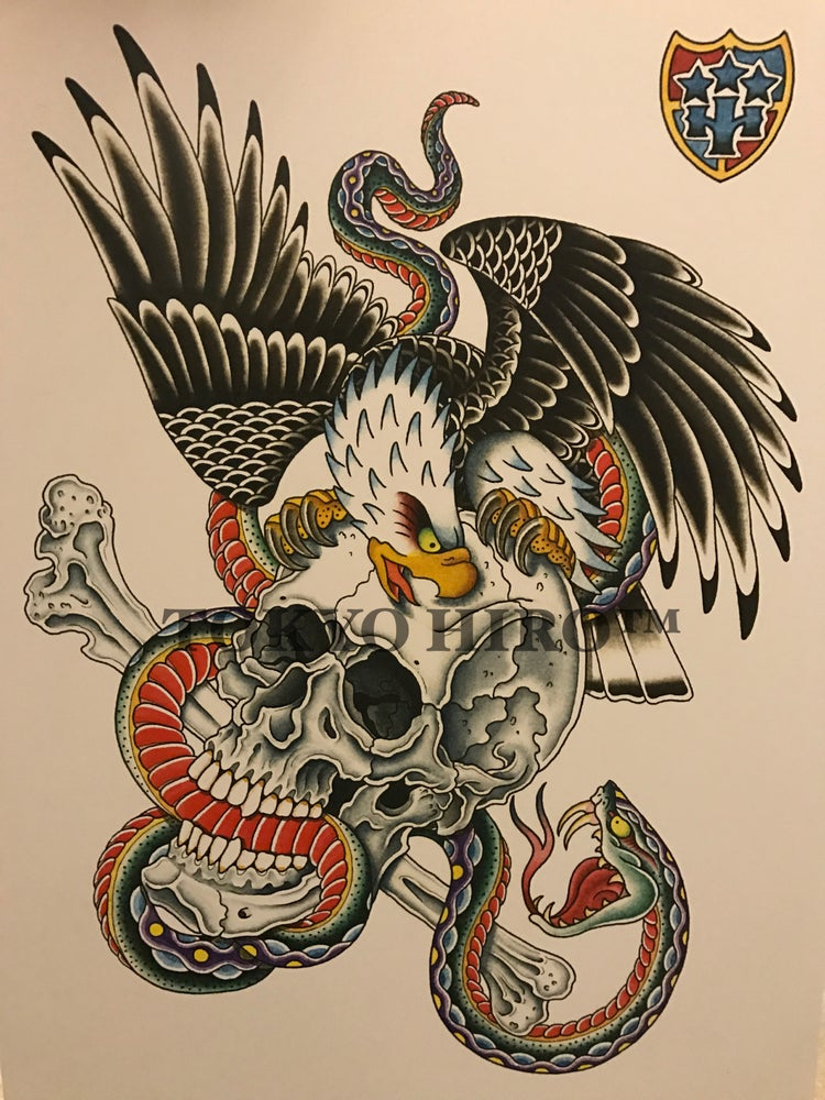 Image of Skull,Snake&Eagle (with another print)