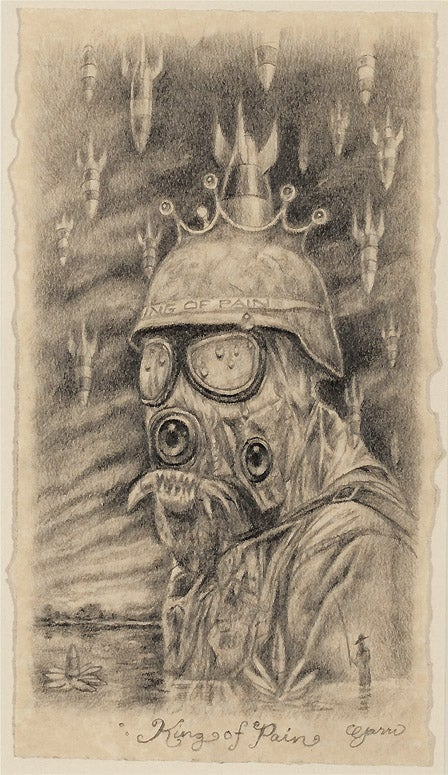 "Image of Mark Garro original drawing framed Study for "" King of Pain """