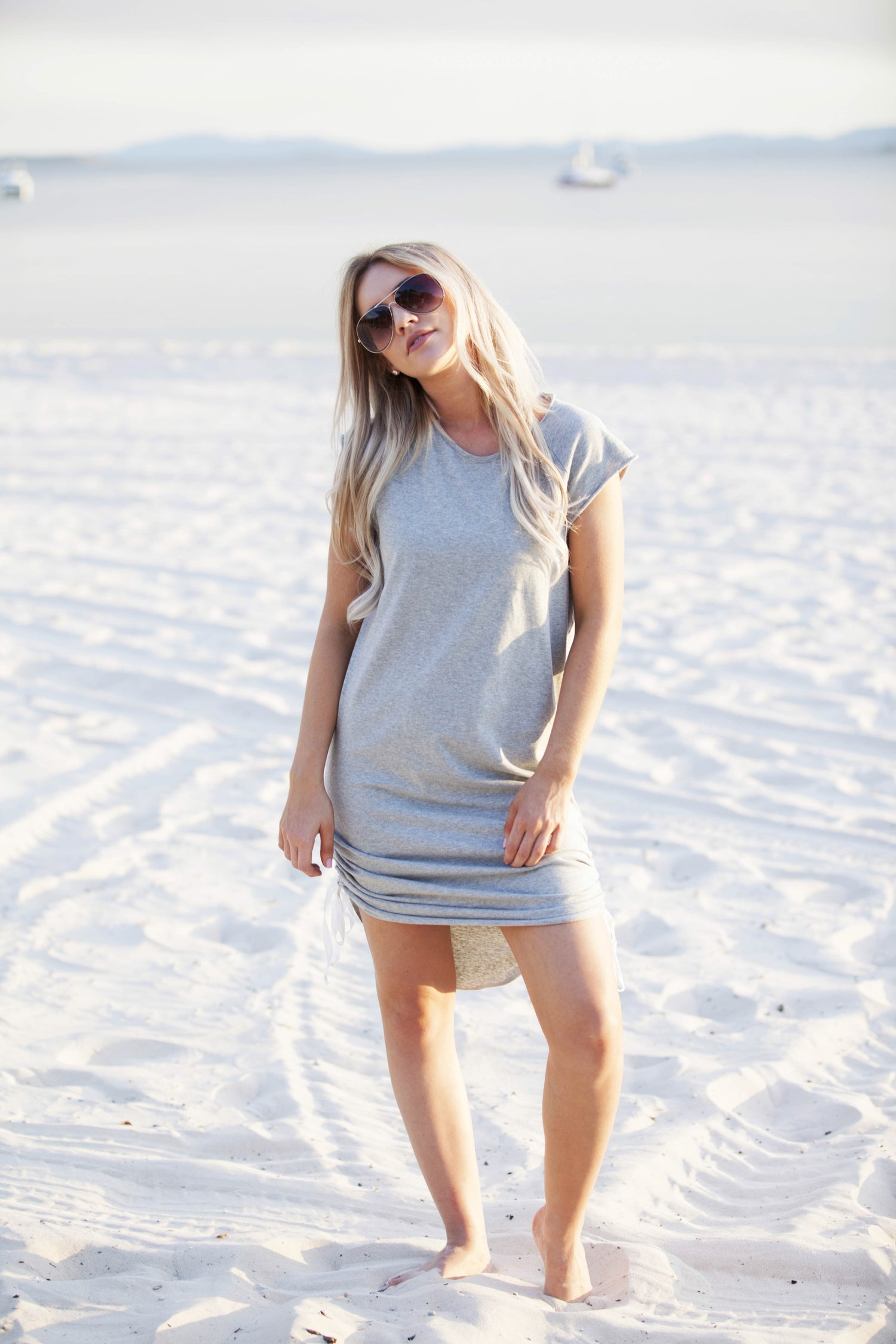 Image of Drawstring Dress - Organic Grey