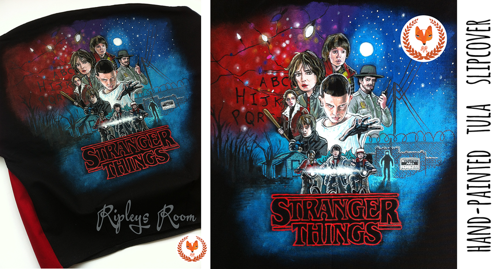 Image of HAND-PAINTED 'Stranger Things' Tula Slip Cover- Standard Size