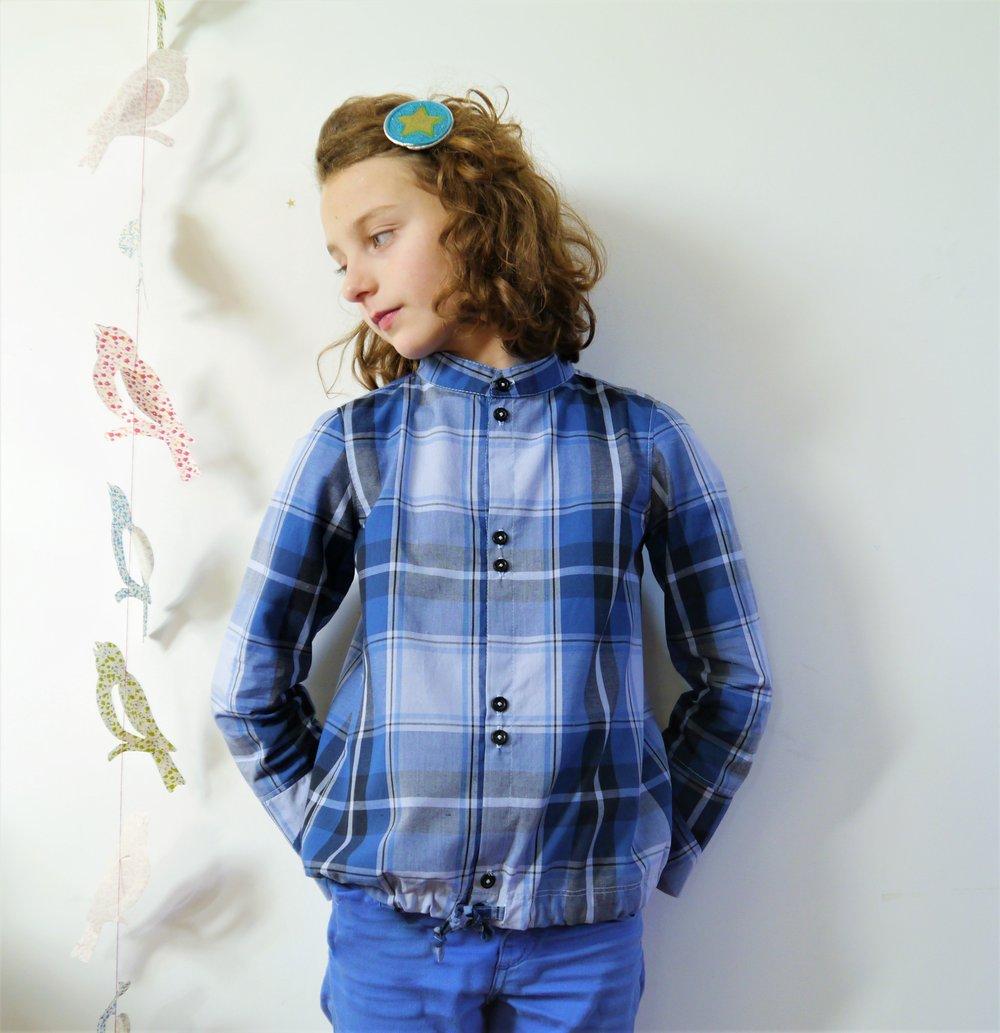 Image of Chemise mixte à carreaux, cotonnade bleue et noire, 7/9 ans
